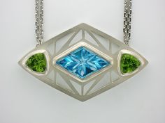 Custom Necklace - Fancy-Cut Blue Topaz & Peridot - #ithaca #jewelry #jeweler #gems #custom For You Blue, Peridot, Blue Topaz, Custom Design, Gems, Fancy, Jewels, Color, Jewerly