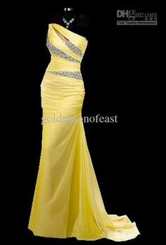 One-shoulder Yellow Chiffon with beaded long bridesmaid prom Formal Evening Party Ball Gown dress