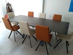 Extendable version of our Xenon dining table with Steel Dark ceramic top and Moka frame. CANDY dining chairs in Ultra Tan and Latte, Moka legs. Delivered to our client in Twickenham. Dining Chairs, Dining Table, Leather Bed, Moka, Sofa Design, Modern Bedroom, Contemporary Furniture, Sideboard, Latte