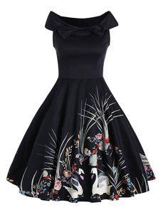 Shop Off The Shoulder Graphic Print Dress online. SHEIN offers Off The Shoulder Graphic Print Dress & more to fit your fashionable needs. Robes Vintage, Vintage Dresses, Floral Dresses, Types Of Dresses, Day Dresses, Evening Dresses, Prom Dresses, Vintage Mode, Retro Vintage