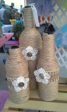 Set of 3 Upcycled bottles wrapped in twine by StacysHappyPlace, $24.00