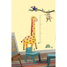 GIRAFFE GROWTH CHART Wall Decals Jungle Animals Room Decor Zoo Stickers Monkey #RoomMates #RemovablePeelandStickVinylBedroomDecorations