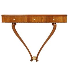1940s Console Table Three Drawers by Osvaldo Borsani, Blond Walnut Wax-Polished | From a unique collection of antique and modern console tables at https://www.1stdibs.com/furniture/tables/console-tables/