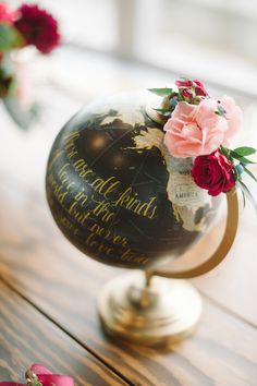 gold and black globe decor idea