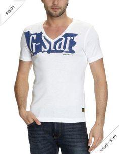 G-Star Men's Havoc Short Sleeve V-Neck T-Shirt, White, XX-Large