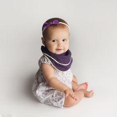 purple pom pom bib for girls