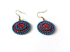 America Dangle Earrings 4th of July Blue Red by LovingCorner, $9.00 #red #blue #beaded #earrings #round #dangle #america #american #colorful #fashion #jewelry #woman #gift #giftforher #metal