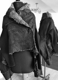 reworked persian lamb fur of vintage coats from the 1960th and `70th, jacket 4 ways reversible