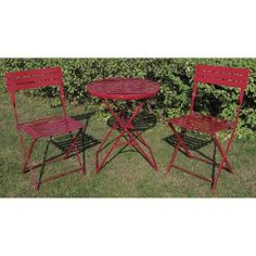 3 Pc Patio Bistro Set Outdoor Furniture Table Chairs Cafe Decor Garden Red Small