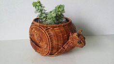 Vintage Woven Wicker Rattan Rare Figural Snail Animal Basket Folk Art Planter FREE SHIPPING