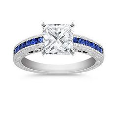 Vintage Sapphire Engagement Ring with Channel Setting with Princess Cut Diamond
