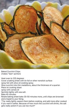 Lean and Green - Baked Zucchini Chips Lean Protein Meals, Lean Meals, Ideal Protein, Medifast Recipes, Diet Recipes, Cooking Recipes, Healthy Recipes, Zuchinni Chips, Baked Zucchini Chips