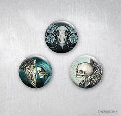 Gothic Romance Momento Mori Elegant Horror Art Pins, by Sherrie Thai of shaireproductions