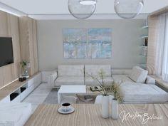 Modrá ako vítané osvieženie - Kristína Bedečová Living Room Kitchen, Kitchen Living