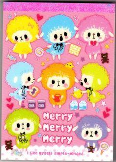 Kamio Japan Merry Merry Merry Sheep Memo Pad with Stickers Kawaii