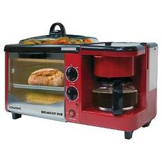 """The Courant  CHB4601 3-in-1 Breakfast Hub combines all the breakfast necessities into one : a toaster oven, a coffeemaker and a griddle. This is the perfect compact appliance for small kitchens, dorms, offices, RVs, studios or wherever space is limited. You can brew a fresh cup of coffee, toast and english muffin and fry up an egg all at once . Its the Breakfast Hub from Courant , """"Your Kitchen made better"""""""