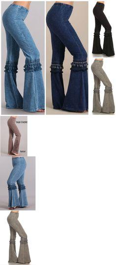 51c383730e4 Pants 63863  Denim Effect Hippie Boho Bell Bottom Flare Stretch Fringe Pants  Yoga Plus S