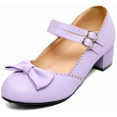 Latasa Women's Lolita Sweet Cute Bow Buckles Round-toe Chunky Low-heel... ($26) ❤ liked on Polyvore featuring shoes, short heel shoes, wide shoes, low heel mary janes, bow shoes and round cap