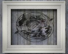 Koi fish papercut art decor  Japanese style swimming