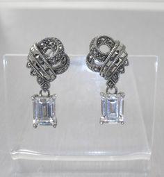 Judith Jack Sterling Marcasite Drop Earrings by TonettesTreasures