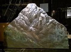 Mountain painted for a local production of Spamalot. Theatre Props, Stage Props, Theater, Stage Set Design, Vacation Bible School, Scenic Design, Sound Of Music, Rocky Mountains, Backdrops