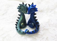 Polymer Clay Miniature Dragon Couple in Love by PlushlikeCreatures