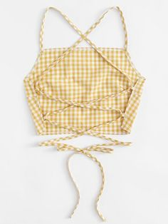 Shop Criss Cross Back Checked Cami Top at ROMWE, discover more fashion styles online. Diy Clothing, Sewing Clothes, Custom Clothes, Clothing Patterns, Diy Clothes Tops, Refashioning Clothes, Diy Summer Clothes, Sewing Jeans, Diy Clothes Refashion