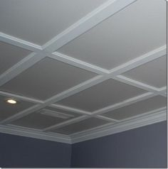 Simple, low profile coffered ceiling/////if we buy this house...I'm doing this in the livingroom for sure