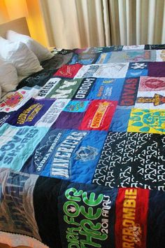 I love my t shirt quilt! It's such a neat way to keep all the memories without taking up a ton of space!
