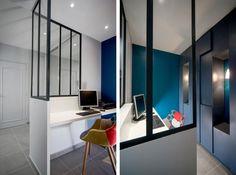 Office area isolated but style open to the rest of the house | Coin bureau ouvert au reste de la maison  et isolé grâce à la verrière.