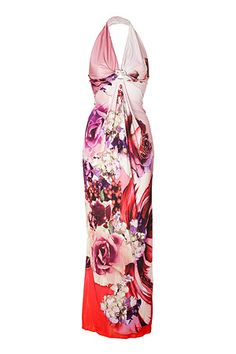Multicolored Cut-Out Halter Jersey Gown by Roberto Cavlli