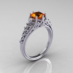 Classic French 14K White Gold 1.0 Carat Orange by artmasters,  beautiful!