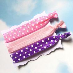 Hair Ties  Pinks and Purple Elastic Hair by TulleBoxCreationsUK