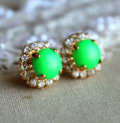 Neon Green Stud earrings Crystal  -14 k plated gold post earrings real swarovski rhinestones.