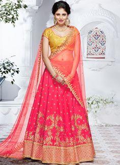 Shop Net Silk Hot Pink Color Lehenga Choli Online