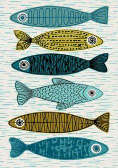 Six poissons édition limitée giclée par EloiseRenouf sur Etsy