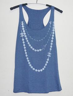 Navy blue shirt size XS vintage long necklace tank by StoneTshirts, $10.50