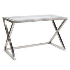 The Mark Console and Desk features modern luxury with an X-Base, beveled glass top and polished stainless steel! An added bonus is the depth of this piece which makes it perfect for use not only as a console but also as a desk. Place the Mark Console Metal Furniture, Modern Furniture, Diy Furniture, Furniture Design, Glass Desk, Best Desk, Table Desk, Console Tables, Desk Chairs