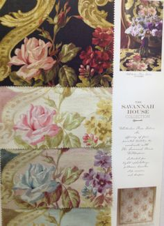 Whitacker Rose Fabric, four colorways from which to choose to match the Whitacker Rose wallpaper. From http://lelandwallpaper.com.