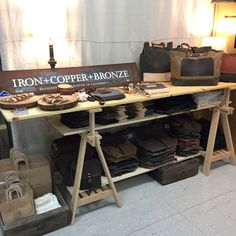 Table display at flea market. Booth for craft fair, makers market, trade show, pop up shops