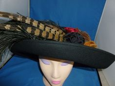 Vintage Ladies Hat Black/Pheasant Feathers Whittall & Shon Derby Wedding Church