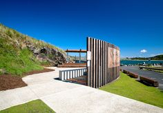 Muttonbird Island, Coffs Harbour  Outdoor Education & Performance Venue 2011. The project incorporates an outdoor education and performance space which is enveloped by a curved timber entry ramp to the island and a 3m high timber screen, creating a natural amphitheatre. Timber Screens, Outdoor Education, Fisher, Architecture Design, Deck, Island, Lancaster, Shelter, Outdoor Decor
