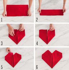 Heart-Shaped Folded Napkin Tutorial.