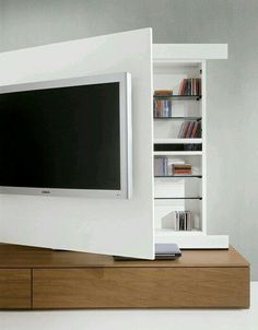 I've spent weeks trying to figure out the best way to wall-mount my TV in the living room (Elegant Behind TV Storage Ideas That Are Secret Places). Living Room Tv, Home And Living, Tiny Living, Interior Design Living Room, Living Room Designs, Deco Tv, Muebles Living, Tv Storage, Hidden Storage