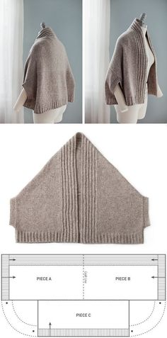 """Vest-poluponcho (patrón) / punto / """"Love this pattern! Adapt to sew, or your favorite knit or crochet stitch…"""", """"nice easy shape with a nice warm result Gilet Crochet, Knit Or Crochet, Knitted Shawls, Crochet Shawl, Crochet Stitch, Easy Crochet, Beginner Crochet, Tutorial Crochet, Modern Crochet"""