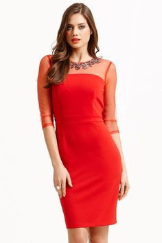 1c0fa15ac35e 57% Off Red Mesh Insert Embellished Neck Dress