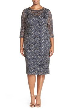 London Times Embellished Neck Lace Sheath Dress (Plus Size) available at #Nordstrom