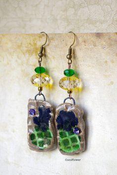 Green Yellow drop earring  Ceramic earring  by chezviolette