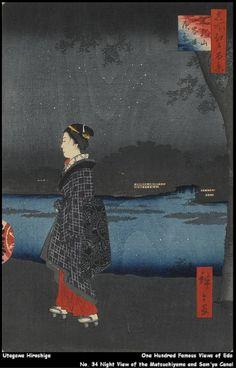 Utagawa Hiroshige - One Hundred Famous Views of Edo - No. 34 Night View of the Matsuchiyama and Sam'ya Canal (Matsuchiyama San'yabori Yakei)