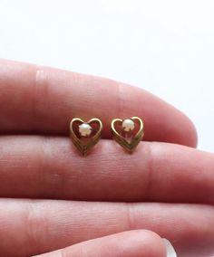 Vintage Gold Filled Heart Earrings by paststore on Etsy